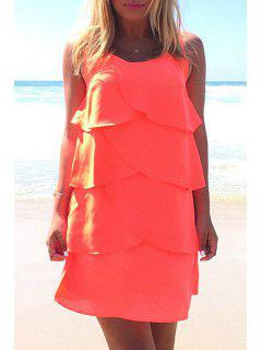 Layered Solid Color Chiffon Dress - Jacinth L