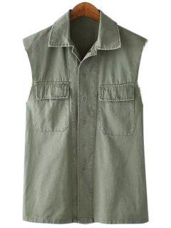 Pocket Back Letter Print Sleeveless Waistcoat - Army Green L