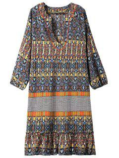 Color Block Argyle Printed 3/4 Sleeve Dress - Yellow M