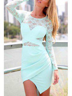 Lace Spliced Long Sleeve Bodycon Dress - Green M