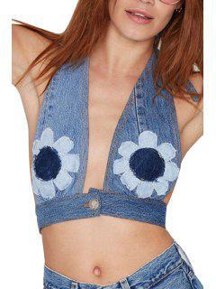Débardeur à Encolure Sans Couture Sans Manches Halter Neck - Bleu M