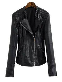 Pocket Design All-Match PU Leather Jacket - Black S