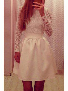 Lace Spliced Long Sleeve Flare Dress - White M