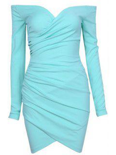 Slash Neck Solid Color Bodycon Dress - Green L