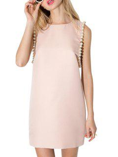 Jewel Neck Faux Pearl Embellished Sleeveless Dress - Pink L