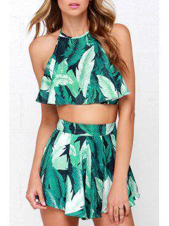 Green Leaves Print Tank Top + Zipper Fly Shorts - Green Xl
