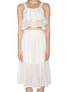 Multi-Layered Flounce Tank Top + Openwork Skirt - White 2xl