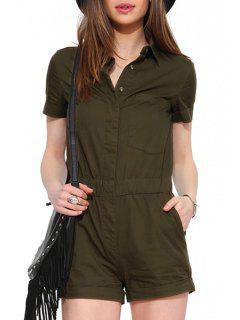 Army Green Shirt Neck Short Sleeve Playsuit - Army Green S