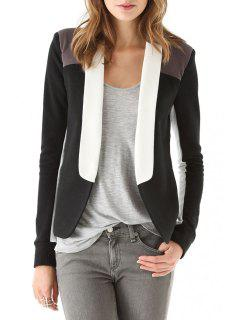 Shawl Collar Color Block Splicing Long Sleeve Blazer - Black L