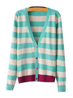 Stripes Color Block Single-Breasted Cardigan - Green M