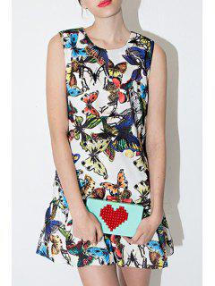 Jewel Neck Full Butterfly Print Sleeveless Dress - White 2xl