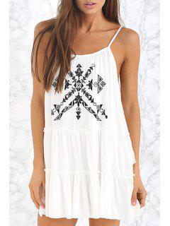 Geometric Embroidery Spaghetti Strap Dress - White 2xl