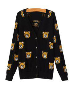 Little Bear Pattern Single-Breasted Cardigan - Black L