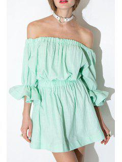Slash Neck Elastic Waist Solid Color Dress - Mint Green S