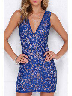 Blue Lace Plunging Neck Sleeveless Dress - Blue Xl