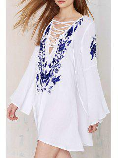 Plunging Neck Floral Embroidery Dress - White L