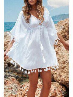 Loose-Fitting Tassels Spliced White Dress - White