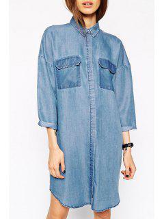 Blue Denim Turn-Down Collar Long Sleeve Dress - Blue 2xl
