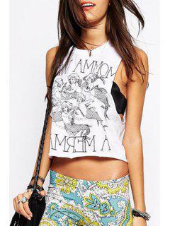 Mermaid Print Round Neck Tank Top - White M