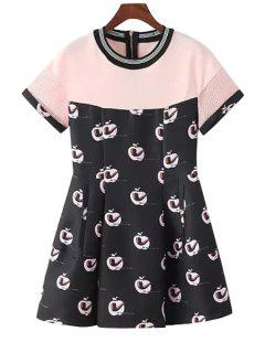 Apple Pipe Print Short Sleeve Dress - Pink S