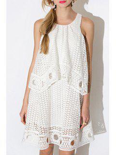 White Hollow Sleeveless Out Dress - White Xl