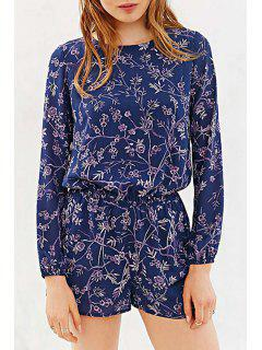 Long Sleeve Floral Print Cut Out Romper - Blue Xl