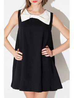 Black And White Sleeveless A Line Dress - Black L