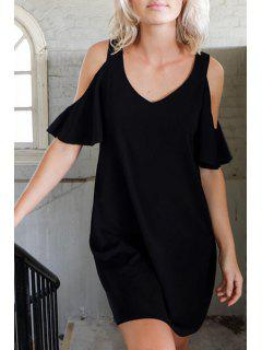 Black Cut Out Short Sleeve Dress - Black S