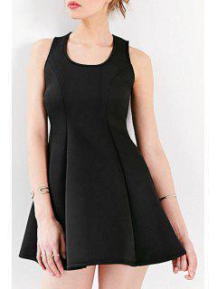 Round Neck A-Line Zippered Black Dress - Black S