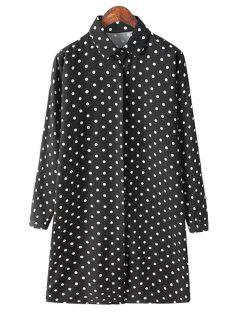 Polo Collar Black White Polka Dot Shirt - Black
