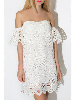 White Hollow Slash Neck Short Sleeve Dress - White M