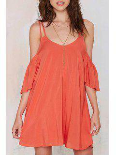 Solid Color Hollow Spaghetti Strap Backless Dress - Darksalmon Xl