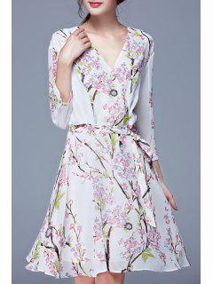 Tiny Floral Print Elastic Waist Long Sleeve Dress - White L
