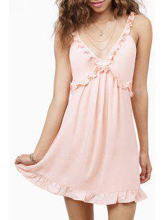 Plunging Neck Sleeveless A Line Dress - Light Pink S