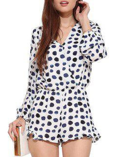 Long Sleeve Polka Dot Flouncing Romper - White Xs