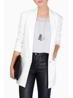Shawl Collar Candy Color Long Sleeve Blazer - White S