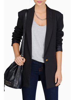 Shawl Collar Candy Color Long Sleeve Blazer - Black M