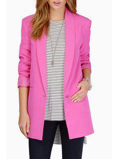 Shawl Collar Candy Color Long Sleeve Blazer - Peach Red M