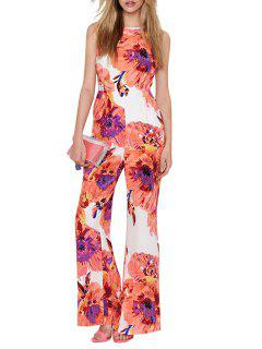 Spaghetti Strap Cross Backless Floral Print Jumpsuit - White Xl