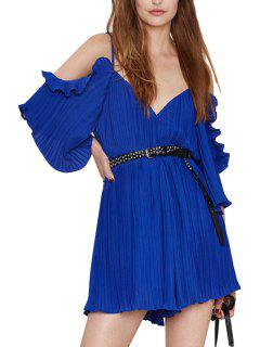 Spaghetti Strap Solid Color Ruffle Backless Romper - Sapphire Blue 2xl