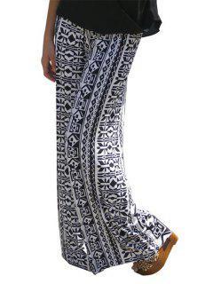 Wide Leg Ethnic Pattern Pants - White S