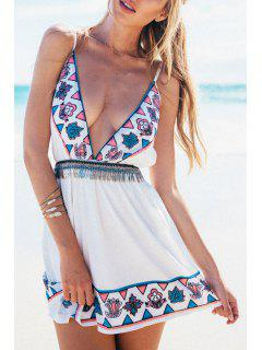 Deep V Neck Vintage Print Open Back Club Dress - White L