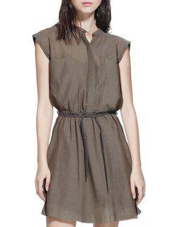 Round Neck Solid Color Elastic Waist Belt Dress - Coffee 2xl
