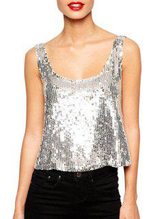 Scoop Neck Full Sequins Backless Tank Top - Silver Xl