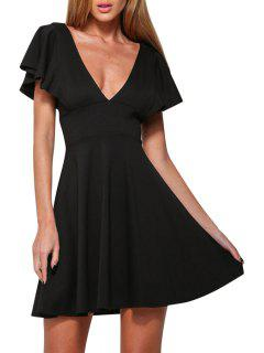 Plunging Neck Solid Color A Line Dress - Black L