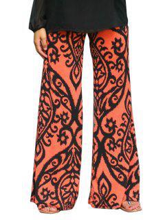 Pantalons Floraux à Larges Jambes - Saumon M