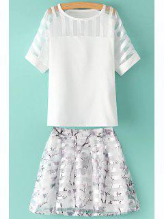Ver-a Través De La Camiseta De Color Sólido + Falda De Impresión Floral - Blanco L