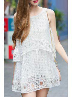 Polka Dot Openwork Sleeveless Dress - White L