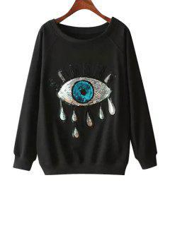 Eye Pattern Sequins Long Sleeve Sweatshirt - Black M