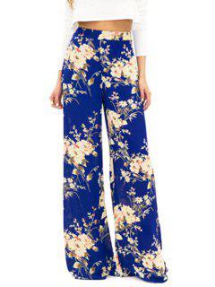 Full Floral Wide Leg Exumas Pants - Blue M